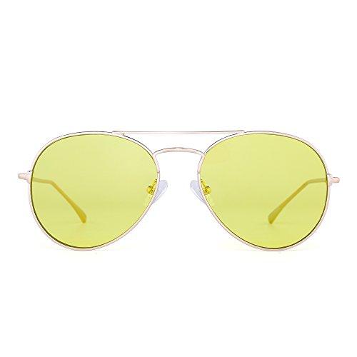 JIMHALO Klar Flieger Sonnenbrille Klassisch Flach Getönt Linse Metall Brillen Damen Herren(Gold/Transparentes Gelb)