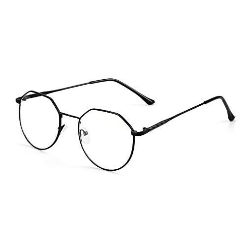 Retro Metall Brille Ohne Sehstärke Anti Blaues Licht Nerdbrille Fernseher Computer Lesebrille Unisex Brillenfassung Unregelmäßige Frame Brillengestell Dekobrille mit Klare Linse für Damen und Herren