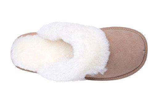 Pantofole Scamosciate da Donna in Lana di Pecora Beige/Bianco