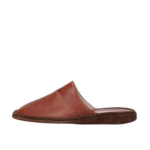 PAPILLON pantofole uomo 40 EU marrone pelle camoscio AF04