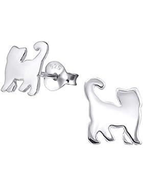 Premiumqualität-Katzen-Ohrstecker, Sterling-Silber, 1 Paar