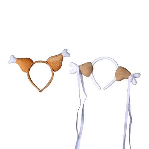 Huhn Kostüm Machen - Happyyami 2 stücke türkei Huhn trommelstock Stirnband Huhn Bein Hoop neuheit hüte Kopfschmuck kostüme zubehör (1 Huhn trommelstock und 1 Spitze Huhn trommelstock)