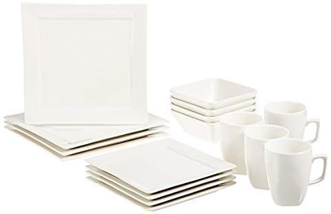 AmazonBasics Service de table carré classique 16pièces pour 4personnes Blanc