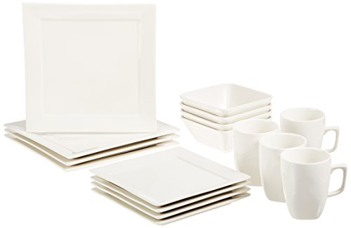 AmazonBasics 16-Piece Premium Dinnerware Set, Square Classic White