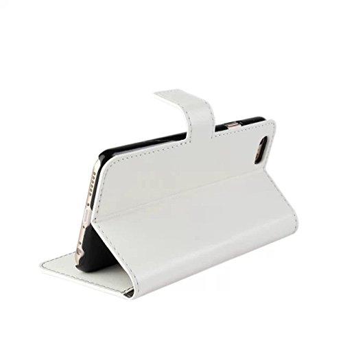Aeontop 4 en 1 Custodia in pelle Protettiva Cuoio Portafoglio Flip Cover per Apple iPhone 6 Plus 5.5 con chiusura magnetica e View Finestra Doppia, Pellicola di Protezione e dello stilo Incluse, Mage Bianco