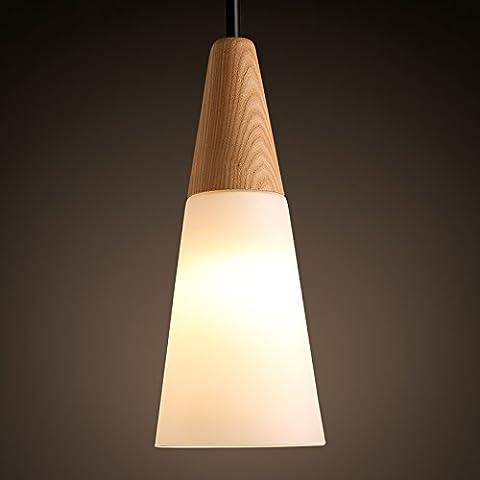 MSAJ-Lámpara en forma cono roble estilo escandinavo creativo comedor dormitorio sala estar minimalista solo-cabeza blanca lámpara 130 * 315mm ,