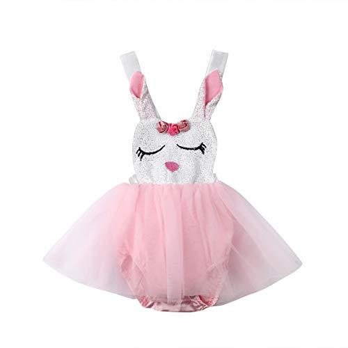 Vpuquuz Neugeborenes Baby Mädchen Tutu Strampler Kleider Osterhase Kaninchen Kostüm Kleid Fluffy Kleid Strampler Kleidung Ärmelloser Sommer Kleider für Kleinkind Baby Mädchen (Rosa, 0-6M) (Fluffy Bunny Kostüm Kind)