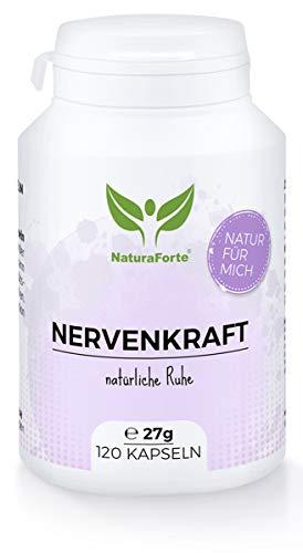 NaturaForte Nervenkraft Forte Beruhigungs-Kapseln 120 Stück, Natürliche Nerven-Ruhe, Schlaf,...