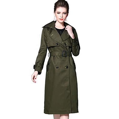 QJKai Damen zweireihig schlanke Lange Trenchcoat Mantel Mode Revers Windbreaker Jacke mit Gürtel Herbst Langarm Outwear Tops Armee grün (Size : L) - Gürtel Trench Lange Mantel Jacke