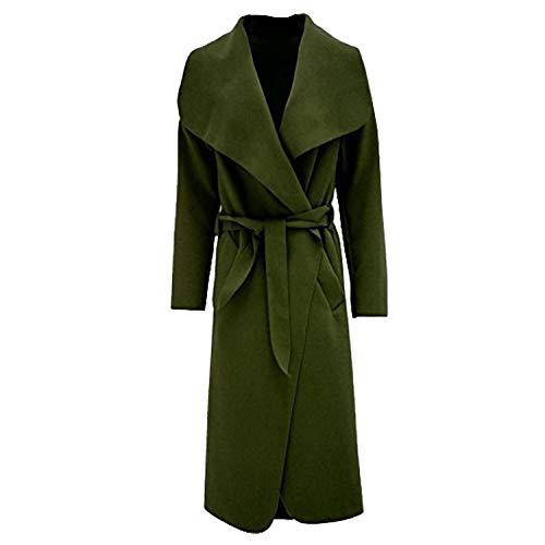 Damen Mantel Kim Kardashian Übergroße Wasserfall Jacke Mit Gürtel Neu - Eine Größe, Khaki Luxe Blouson