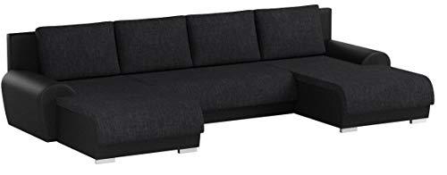 Wohnlandschaft Eckcouch Ecksofa Otis - Big Sofa, Couch mit Schlaffunktion und Bettkasten, U-Sofa, U-Form (Schwarz + Schwarz (Madryt 1100 + Berlin 02))