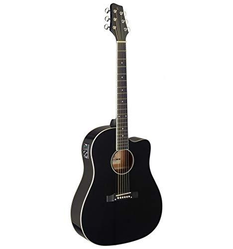 Stagg Cutaway - Guitarra acústica, eléctrica, color negro