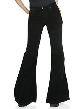 Mujer Cord Impacto Pantalones Star Negro 70Hippie Look