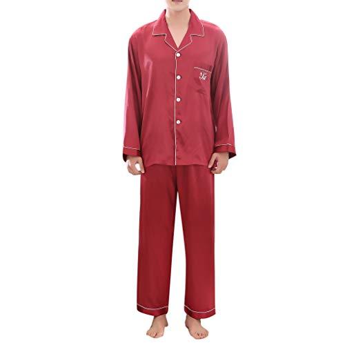 B-commerce Paar Home Pyjamas Set Lässig Reine Farbe Langärmelige Gemütliche Lose Taste Revers Hemd Weites Bein Lange Hose