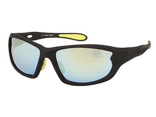 Sonnenbrillen Radbrille Sportbrillen bunt verspiegelt 400 UV breit Bögen Gummi gelb