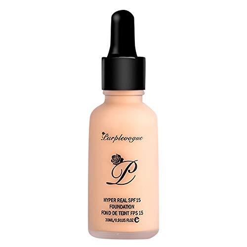 Transer yao Foundation compte-gouttes liquide,Langmanni Garniture Correcteur Fondation liquide matte oil control concealer,long lasting waterproof maquillage nude (03#)