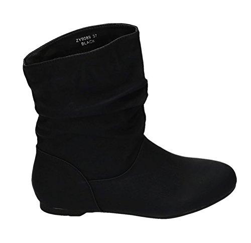 Damen Stiefeletten Cowboy Western Stiefel Boots Flache Schlupfstiefel Schuhe 89 (40, Schwarz)