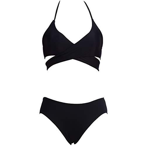 Damen Zweiteiler Badeanzug Halfter Criss Cross High Waist Vintage Bandage Bikini Set,3,M -