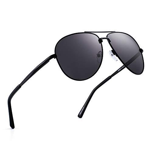 JIM HALO Polarisiert Flieger Sonnenbrillen Retro Metall Fahren Pilot Brille Damen Herren(Schwarz/Polarisiertes Grau)