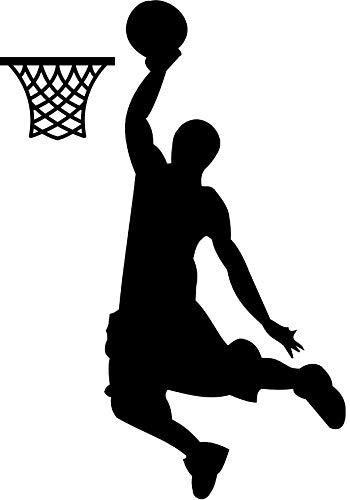 EmmiJules Wandtattoo Basketball Spieler Basketballer - mit Namen möglich - Made in Germany - in verschiedenen Farben und Größen - Junge Sport Wandaufkleber Wandsticker (100cm x 75cm, schwarz) -