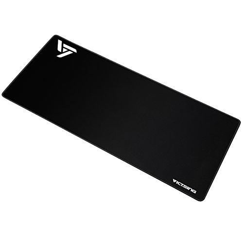 VICTSING Alfombrilla Grande de Ratón para Gaming (800×400×2.5mm) Impermeable y Base Antedeslizante de Goma, Superficie Suave, Bordes Cosidos Durables, para Computadora, PC y Portátil - Negro