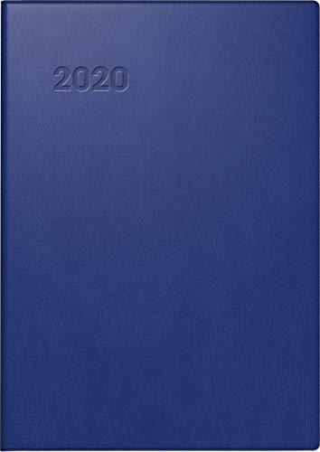 BRUNNEN 107131130 Taschenkalender Modell 713 (2 Seiten = 1 Woche, 7,2 x 10,2 cm, Kunststoff-Einband, Kalendarium 2020) dunkelblau