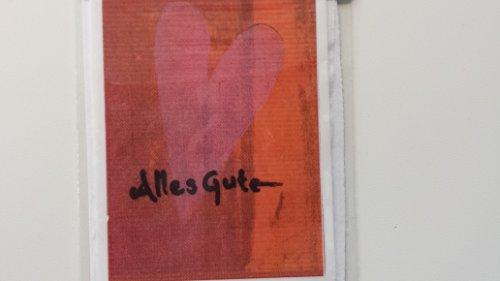 bastelkoerble Verzierwachs - Wachsdekor - Platte ' Alles Gute mit Herz ' - 7,5 x 5cm. Kerze,