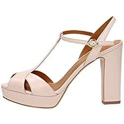 Calzature Donna WHAT FOR sandalo alto, in pelle, cinturino regolabile alla caviglia