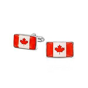 Bling Jewelry Kanadische Flagge Rot Maple Blatt Flag Rot Weiß Shirt Manschettenknöpfe Für Herren Messing Edelstahl Scharnier Zurück