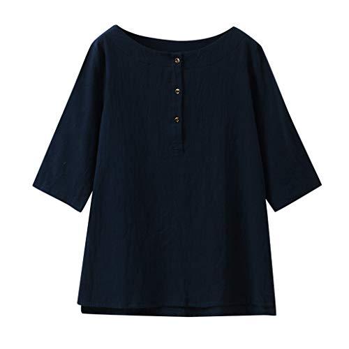(Dorical Damen 3/4 Ärmel Baumwoll Leinen Jacquard Oberseiten, Mode Sommer Herbst Klassisches Vintage T-Shirt Chinesisch Rundhals Tunika Bluse Lose Casual Tops S-XXL Ausverkauf(Marine,Small))