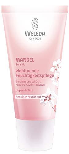 WELEDA Mandel Wohltuende Feuchtigkeitspflege, sanfte und unparfümierte Naturkosmetik Feuchtigkeitscreme für sensible Mischhaut im Gesicht und am Hals für einen gesunden Teint (1 x 30 ml) -