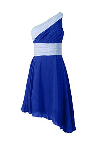 Missdressy Schick Ein-Schulter Chiffon Abendkleider Tanzenkleider mit Faltenwurf Kurz Blau