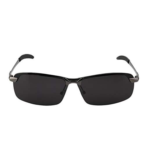 Nachtsicht polarisierte Sonnenbrille-Gläser für Outdoor-Driving Angeln Super leicht Rahmen weiche Gummi Nose Pad(Grauer Rahmen dunkelgraue Linse) Jasnyfall