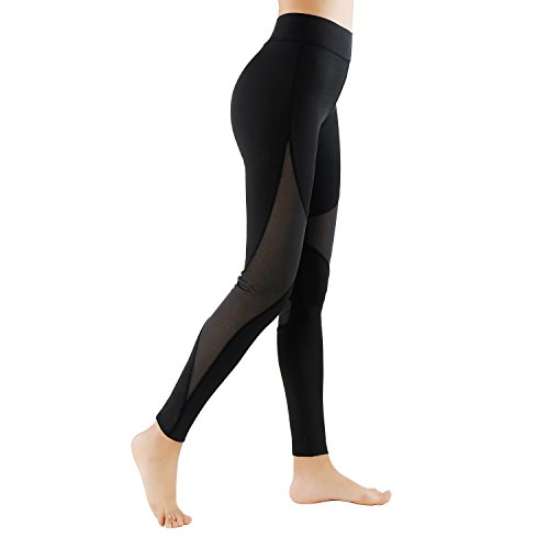 GoVIA Leggings Damen Mesh Laufhose Luftdurchlässiges Textil-Netzgewerbe Sporthose Fitness Yoga Lang 4135L Gr.S/M