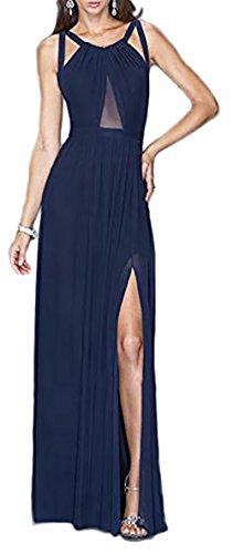 Robe longue avec décolleté semi-transparent Bleu
