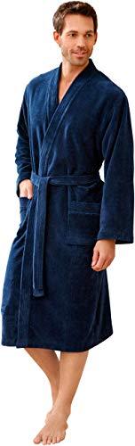 Morgenstern Kimono Bademantel für Herren in Blau Duschmantel Herrenbademantel Männer Baumwolle Microfaser Viskose weich lang weich leicht Größe L