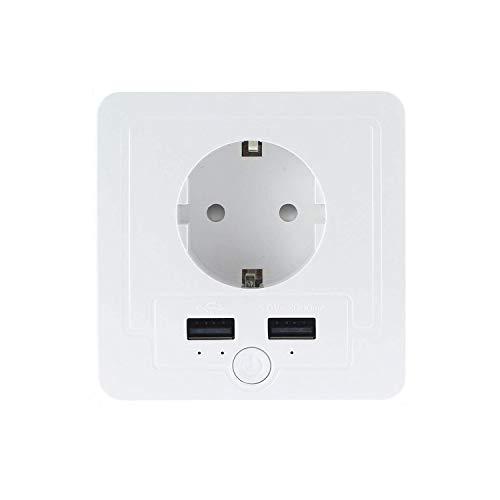 JinvooSmart WiFi Smart-Wandsteckdose, 1 Steckdose und 2 USB-Super-Ladeanschlüsse, Fernbedienung über Smartphone, kompatibel mit iOS und Android, Kompatibel mit Alexa Echo und Google Assistant, Weiß