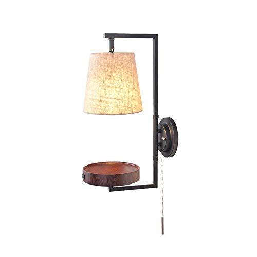 GXFXLP Wandleuchte USB mit Schalter Nordic Holz Einfache Moderne Wohnzimmer Schlafzimmer Nachttischlampe Studie Gang Kreative Wall Washer,Walnuss -