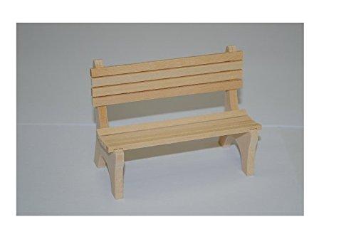 Bank Holz Möbel beige hell Miniatur für Puppenstube Puppenhaus Maßstab 1:12 - Puppenstubenmöbel - Küchenmöbel / Wohnzimmermöbel - Gartenmöbel