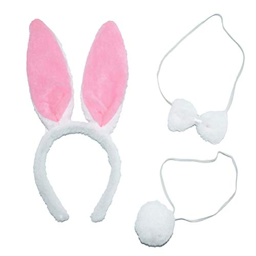 Set mit Hasenohren, Stirnband, Fliege, Fliege und Schwanz, für Halloween, Cosplay, Party (rosa Kopfschmuck + Fliege + Schwanz) ()
