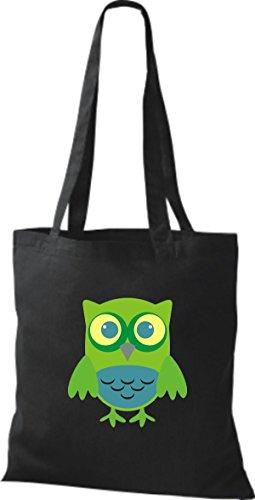 ShirtInStyle Jute Stoffbeutel Bunte Eule niedliche Tragetasche mit Punkte Karos streifen Owl Retro diverse Farbe, hellblau schwarz