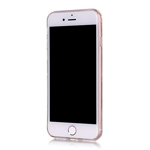 iPhone 7 Plus Hülle-Aohro 3D Kreativ Muster Transparent Hard PC Back Case Handytasche für Apple iPhone 7 Plus(5.5 Zoll)Glitzer Schwarz Sterne Star Fließen Flüssig Flüssigkeit Handyhülle Handy Hülle Ca Blau
