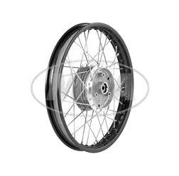 Speichenrad 1,50x16 Zoll Alufelge, schwarz eloxiert und poliert + Chromspeichen (Radnabe: Graugussbremsring, abgedrehte Flanken)