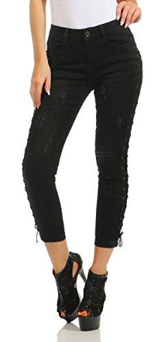 Fashion4Young - Jeans - Décontracté - Femme Turquoise turquoise M = 40 Noir