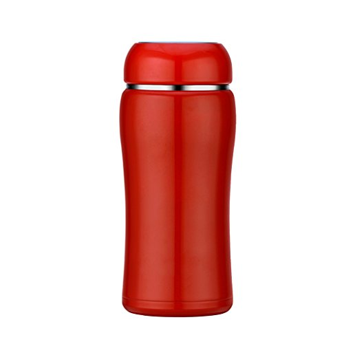 Mug de mode créative dames tasse d'eau fraîche et simple tasse d'art portable mignon tasse à vide en acier inoxydable ( Color : Tomato Red , Size : 350ml )