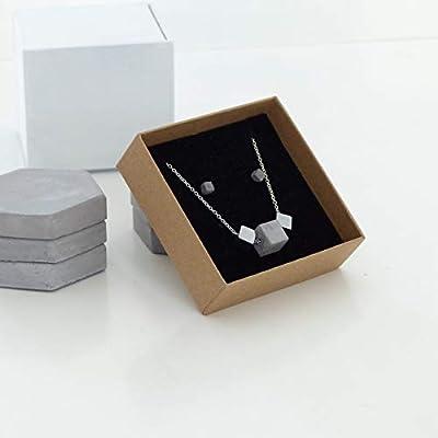 Parure de cubes en béton. Collier composé de 2 cubes en hématite et d'un cube en béton, chaine en argent 925, Boucles d'oreilles en acier inoxydable et cube de béton, bijou pour elle ou pour lui, style Viking, minimaliste, brutaliste