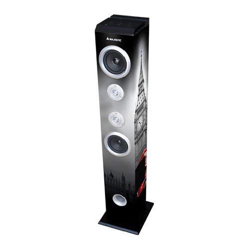 Majestic TS 85 BT USB SD AX - Altoparlanti a torre e subwoofer con Bluetooth, Ingressi USB/SD/AUX-IN, radio FM, telecomando, Torre di Londra e Bus double decker
