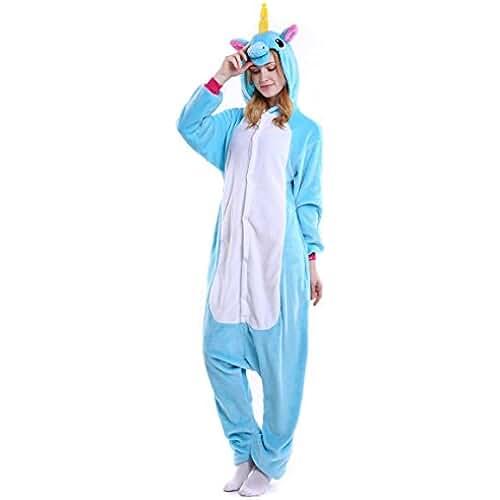 Heekpek® Pijama Animal Unicornio Entero Unisex para Adultos con Capucha Ropa de Dormir Traje de Disfraz para Festival de Carnaval Halloween Navidad (M(158-167cm), Azul)