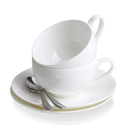 JINZHI Tasse à café en porcelaine blanche, ensemble de tasses en porcelaine blanche avec os, avec plat à café cuillère à café en acier inoxydable porcelaine blanche 2 tasses 2 assiettes 2 cuillères