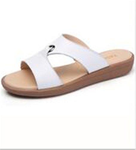 Boowhol Damen Lederschuhe Soft Sandalen Sommer Flache Sandalen Strand Flip-flops Weiß